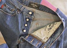 True Vintage 90er Jeans Hose Highlands W34 L36 Größe 38 40 Denim Blue Blau Jeanshose Straight Knopfleiste