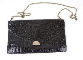 True Vintage Clutch Brieftasche Abendtasche Schwarz Silberfarben Tasche Kroko Leder Kette Handtasche
