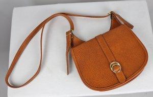 True Vintage Handtasche Minitasche Hellbraun Cognac Schnalle Rund Henkel 70er 60er Satteltasche
