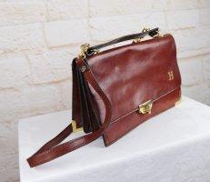 True Vintage Handtasche Tasche Cognac Leder Goldfarben H Drehverschluss Henkeltasche Business Metall