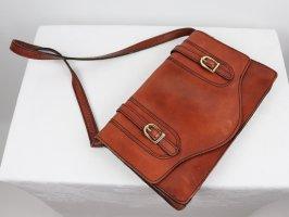 True Vintage Leder Handtasche Cognac Braun Schnallen Umhängetasche Bag College Look 70er Tasche