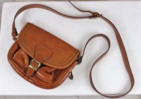 True Vintage Leder Klein Tasche Handtasche Umhängetasche Braun Cognac Western 50er Look Patina Rockabilly