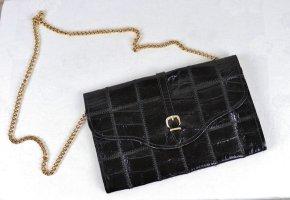 True Vintage Mini Clutch Handtasche Kroko Leder Schwarz Goldfarben Gliederkette Kuvert Bag Brief Schnalle