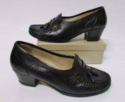 True Vintage Mokassin Gr. 5,5  38,5 Schwarz Leder Schuhe Pumps Tassel Hochfront Schuhe