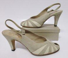 True Vintage Pumps Peep toe Peko Größe 41  Beige Nude  Leder Schuhe Tanzschuhe Sandaletten