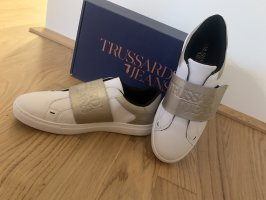 Trussardi Jeans Basket velcro blanc-doré