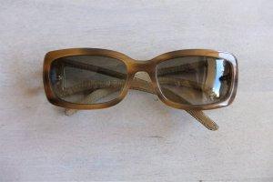 Trussardi Sonnenbrille Schildpatt beige braun Leder schmal
