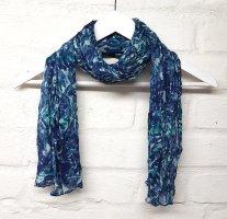 Tuch Blautöne Türkis Hellblau Weiß Crinkle Effekt H&M