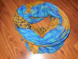 Tuch in senfgelb und blau, Rundschal
