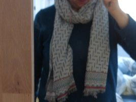 keine Fringed Scarf silver-colored-salmon