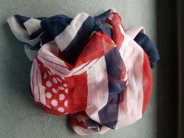 Tuch Schal rot rose blau