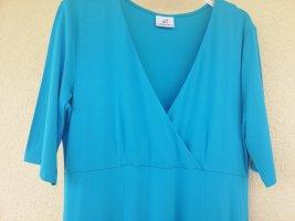 türkisblaues midilanges Shirtkleid mit langem Halbarm von Emilia Lay