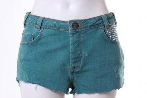 Türkise Hotpants Jeansshorts mit Nieten 36