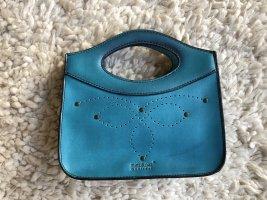 Türkisfarbene Handtasche mit Lochmuster