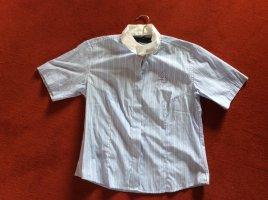 Short Sleeved Blouse white-neon blue