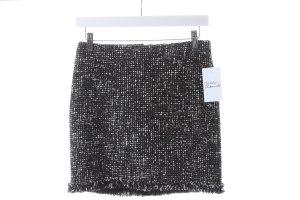 Turnover Miniskirt black-white weave pattern simple style