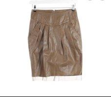 Twin set Skórzana spódnica brązowy