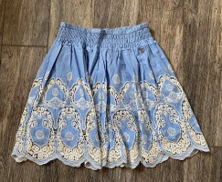 TwinSet by Simona Barbieri Minirock NEU S 36 blau creme weiß LochStickerei Spitze