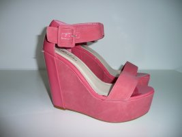 Two Tone Wedge Sandalen m Plateau & Riemchen in matt Lachs mit Lack Detail Gr 40