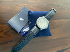 U.s. polo assn. Orologio analogico argento-blu scuro