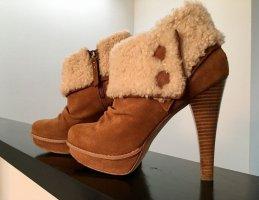 UGG Chestnut Georgette Leder Stiefeletten Schaffell Ankle Boots