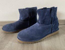UGG stiefel boots Stiefeletten blau Leder leather gerbst