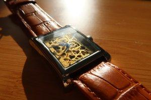 Zegarek automatyczny ciemny pomarańcz Tkanina z mieszanych włókien