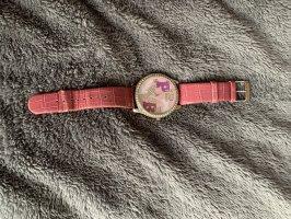 Montre avec bracelet en cuir rose