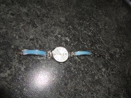Fossil Reloj con pulsera metálica azul claro-color plata
