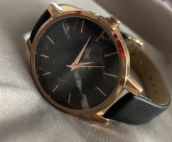 H&M Watch With Leather Strap black-gold-colored