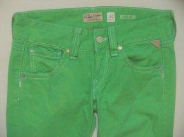 "Ultracoole Hüft-Jeans von REPLAY ""Swenfani"" in knalligem Grün gefärbt (Unikat)..used/destroyed..Größe W28/L34, DE 34/36"