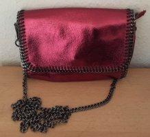 Umhänge Tasche Genuine Leather rotgold mit abnehmb. Kettengurt/Neu