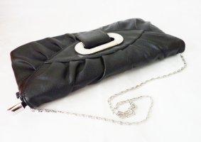 Umhängetasche Clutch mit silber Kette und Ziersteinen black NEU