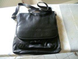 Umhängetasche Schultertasche, sportliche Tasche Leder schwarz von Katana