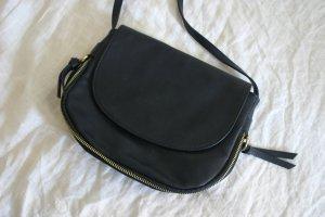 Umhängetasche Tasche Handtasche veganes Leder dunkelblau navy gold