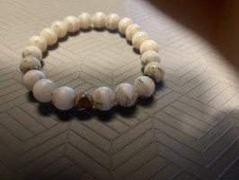 Unendlich Armband met parels wit-lichtgrijs