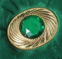 Emanuel Ungaro Brooch forest green-gold-colored