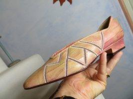ungetragen! MIMO Venezia-Italy rosa Leder Pumps - Mesh Zick Zack Cut outs - Gr. 38 - flache 100% Leder Schuhe gemustert - 90s 80s Vintage