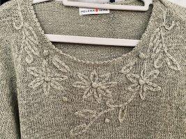 """Ungetragen: Pullover mit gestrickter Blütenranke """"schilfgrün"""" Gr. 36"""
