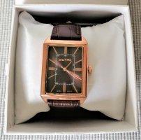 Dictac Montre avec bracelet en cuir or rose-brun cuir