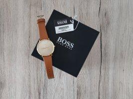 Hugo Boss Zegarek ze skórzanym paskiem jasnobrązowy