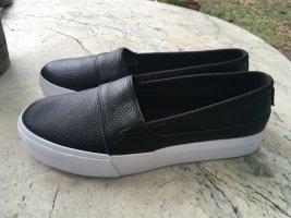 Lacoste Chaussures bateau noir-blanc cuir