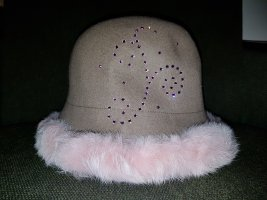 Woolen Hat sand brown-pink