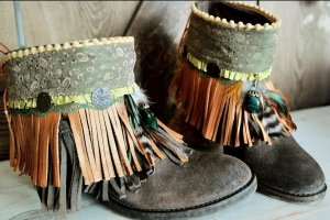 Anklet light brown-green grey leather