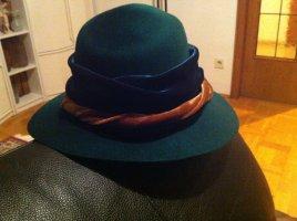Chapeau en feutre bleu pétrole laine