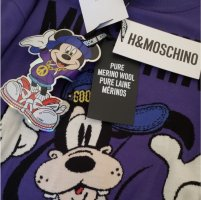 Unisex Moschino TV Disney Edition Goofy Wool lila Sweater Pullover Damen Herren L