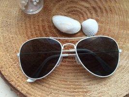 Unisex Vintage Piloten Aviator Sonnenbrille Weiß