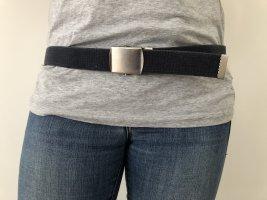 Cinturón de tela azul oscuro-color plata