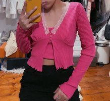 Urban Outfitters pinkes Set Top Cardigan Twinset Camisole Spitze