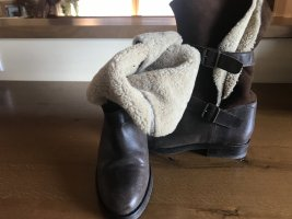Fur Boots dark brown-beige